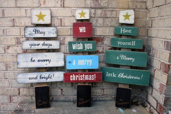 Personalized Wood Christmas Tree Holiday Decoration
