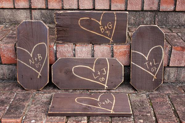 Carved Heart and Initials Sign