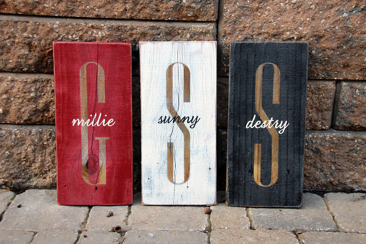 monogram with last name overlay painted wood sign