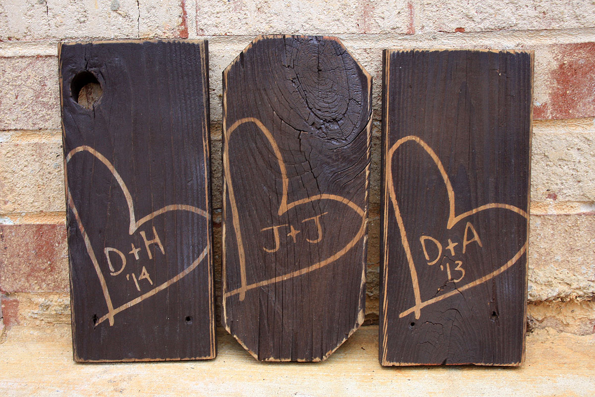 Carved Heart And Initials Painted Wood Sign Signs By Andrea