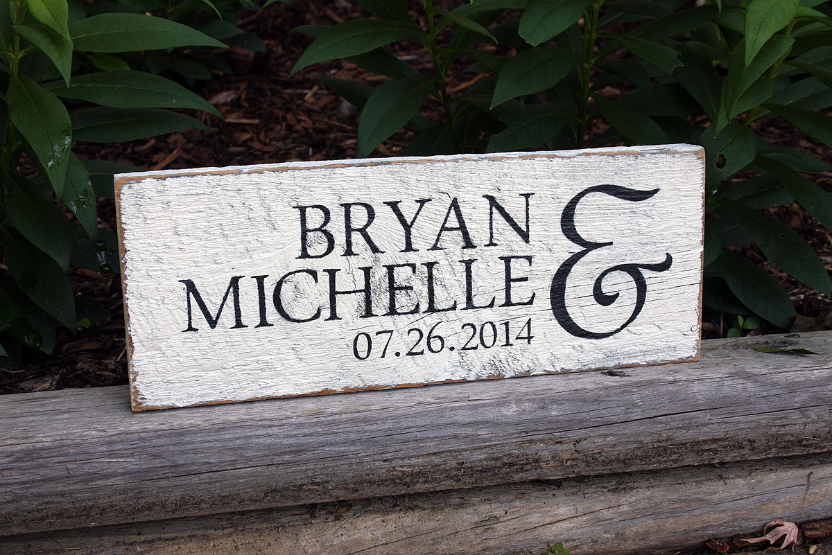Designs Of Stand : First names with wedding date painted wood sign signs by