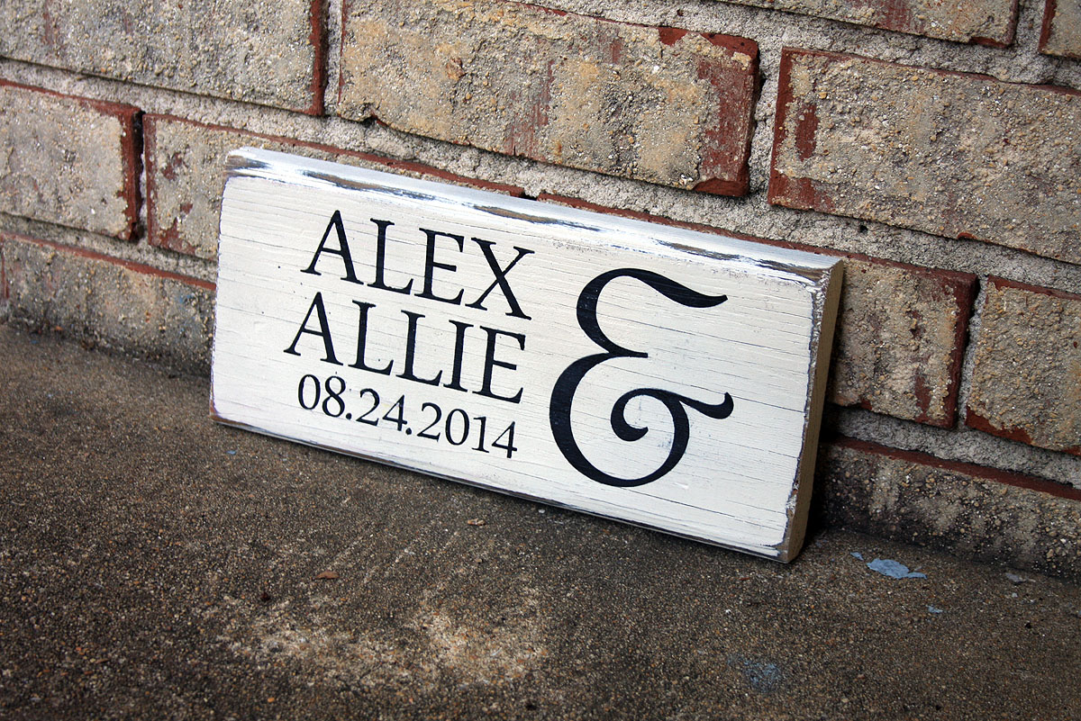 First Names With Wedding Date Painted Wood Sign Signs By