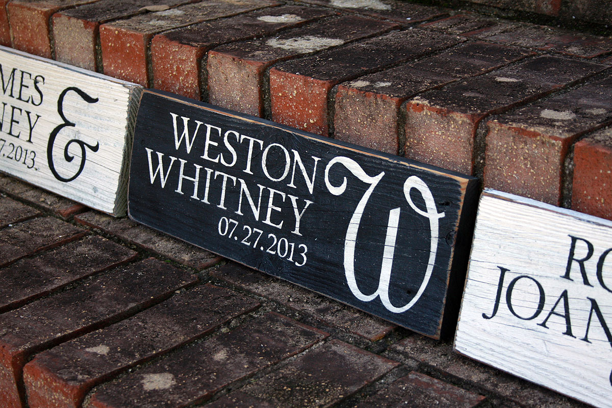 first names with wedding date painted wood sign