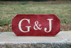 Two Initials Sign - Red - Angled Corners