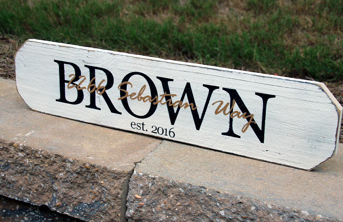 Wood Sign Housewarming Gift - Last Name and Street Name Overlay