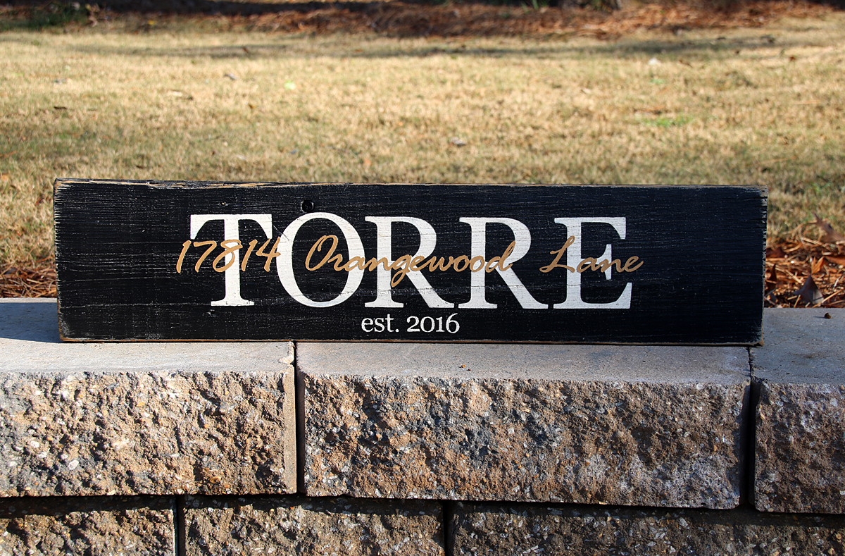 Last Name Sign with Street Address Overlay