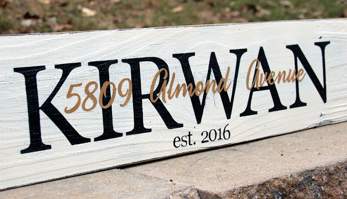 2ft Last Name Sign with Street Address Paper Overlay