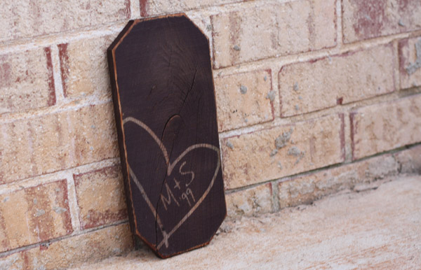Carved Initials in Heart - 1ft x 6in - Valentine - Painted Sign