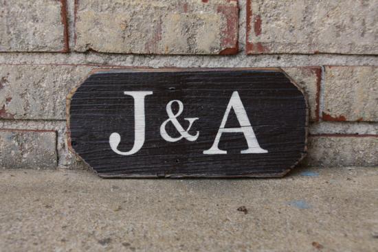 Two Initials Wood Sign