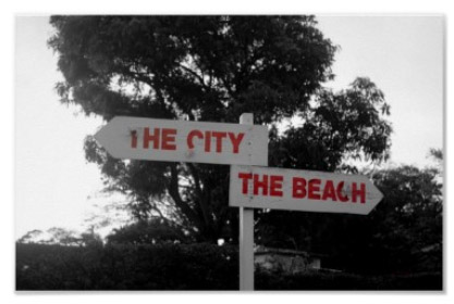 To the City To the Beach Directions Poster