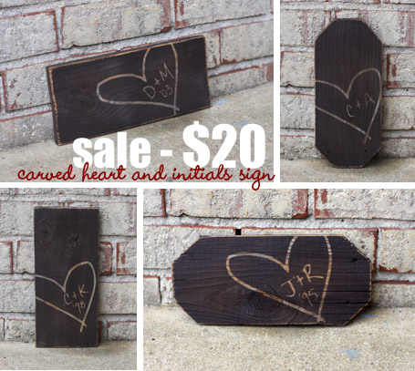 Carved Heart with Initials Sign Sale