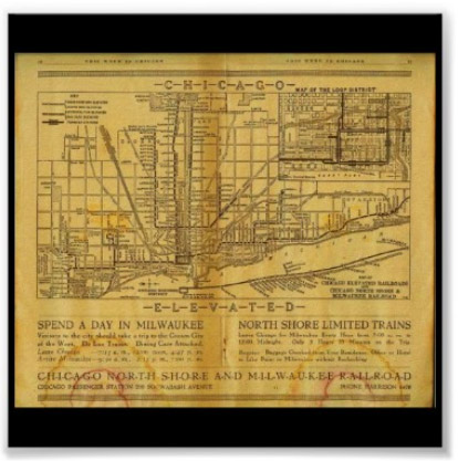 Vintage Chicago Map