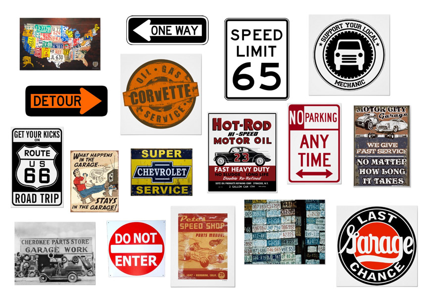 Decorating With Road Signs Vintage Garage Posters And Car Mechanic Art
