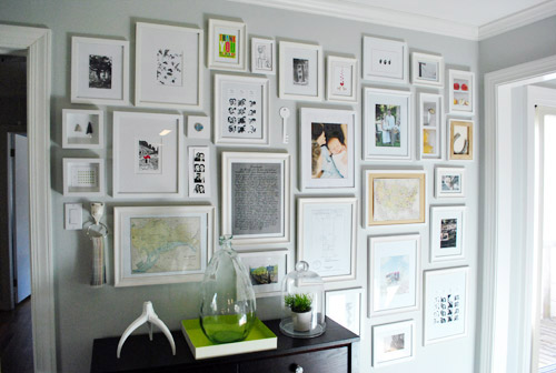 or simply use similar matting styles to unify a collection of eclectic frames as was done at 320sycamore