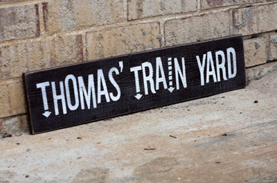 Thomas' Train Yard - Custom Wood Sign