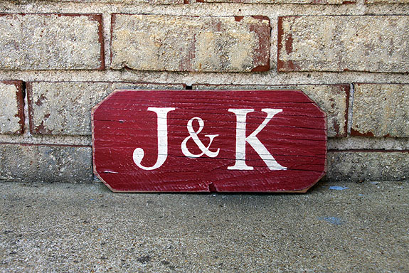 Couple's Initials Painted Wood Sign - Valentine Gift