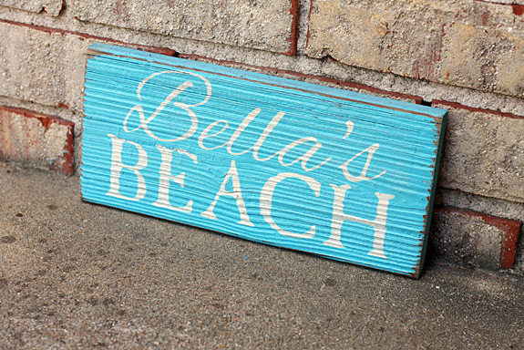 Beach House Painted Wood Sign