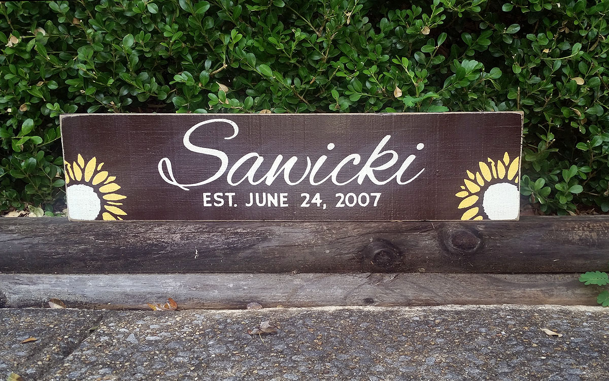 2ft x 6in Custom Last Name Sign with Established Date - Sunflowers