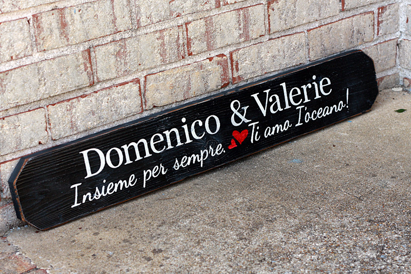 Domenico & Valerie - Italian Love Note - Custom Sign
