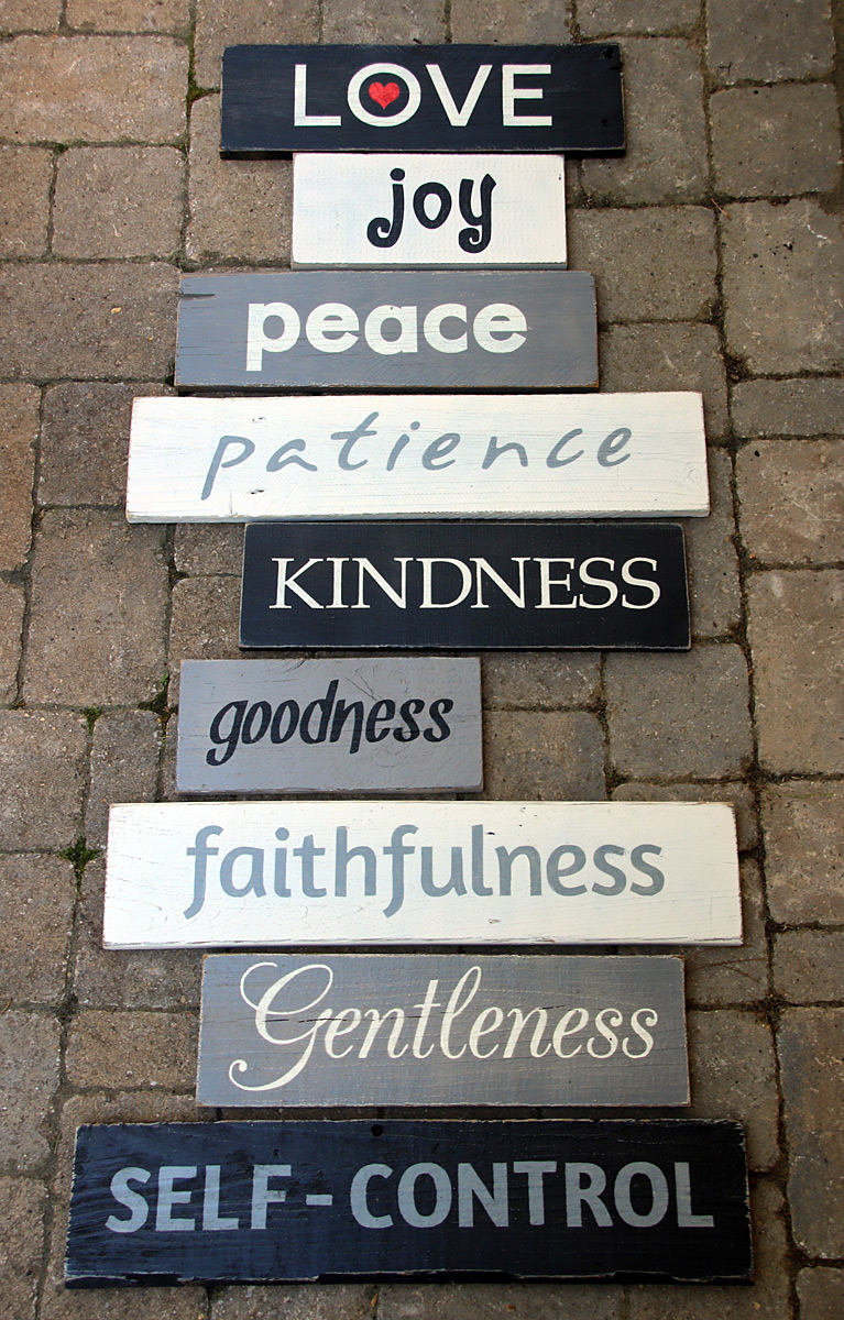 Fruits of the Spirit Reclaimed Wood Signs