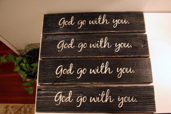 God Go With You - Painted Wood Sign
