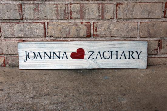 First Names on Wood Sign - Couples