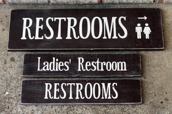 Weathered Wood Painted Signs - Restroom