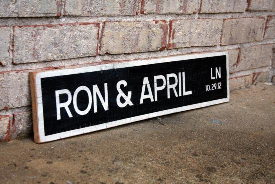 Names on Street Sign - Custom Wood Sign