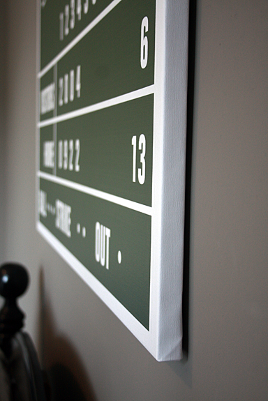0.75in Wrapped Canvas - Personalized Baseball Scoreboard