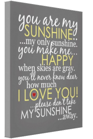 You Are My Sunshine Canvas - Gray
