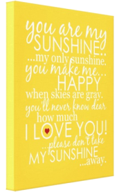 You Are My Sunshine Canvas - Yellow