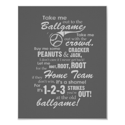 Take Me Out to the Ballgame Song Poster
