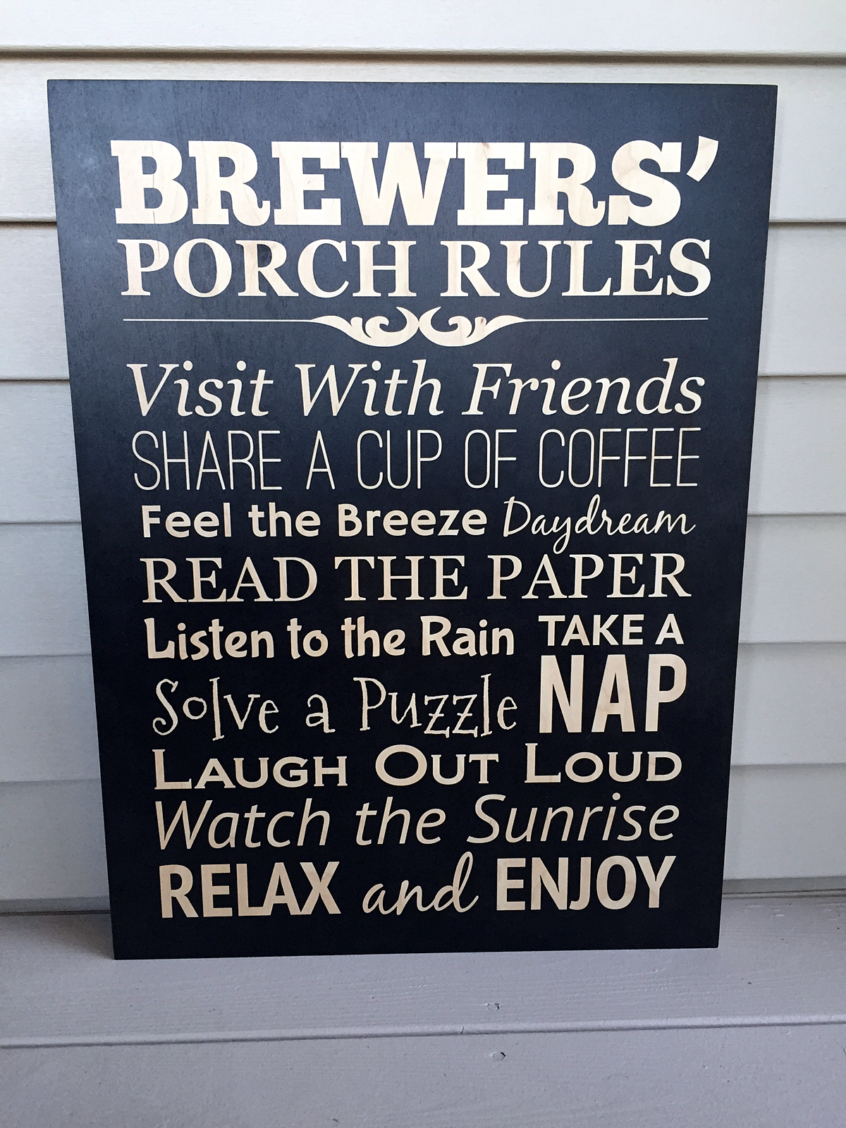 "18"" x 24"" Personalized Porch Rules Wood Print Sign"