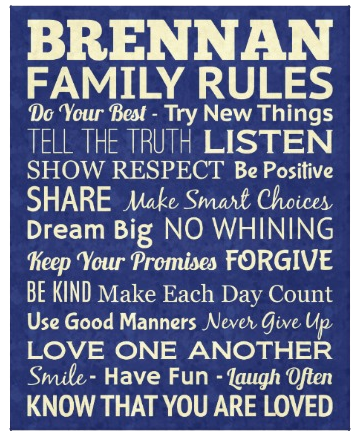 "24"" x 30"" Custom Designed Family Rules Wrapped Canvas"