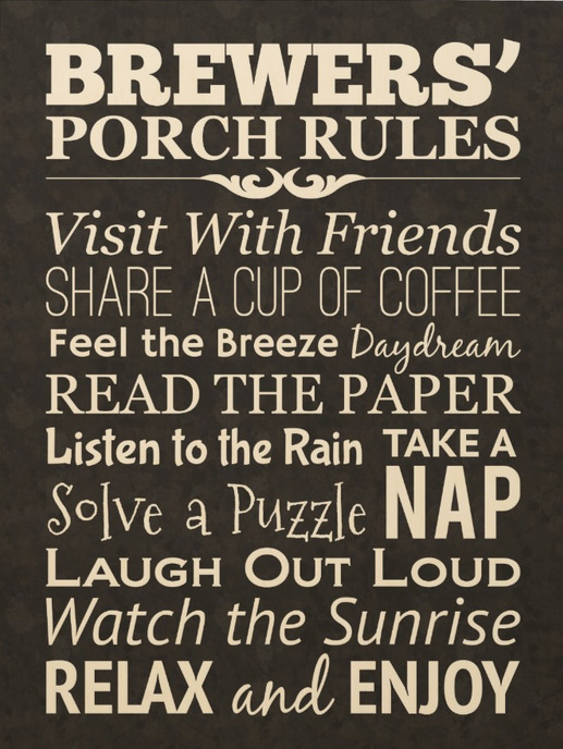 Custom Designed Porch Rules Wood Print Canvas
