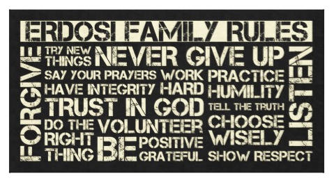 "Custom Family Rules 58"" x 30"" Wrapped Canvas"