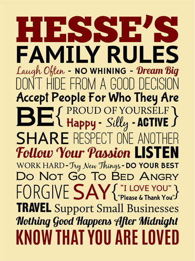 "Custom Designed Family Rules 18"" x 24"" Wrapped Canvas"