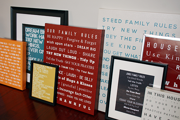 Customized Family Rules Artwork