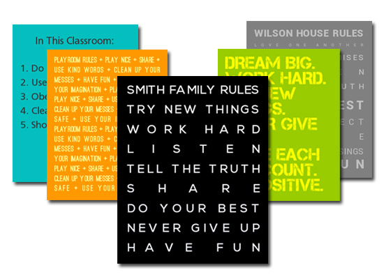 Customized Family Rules Posters and Canvases
