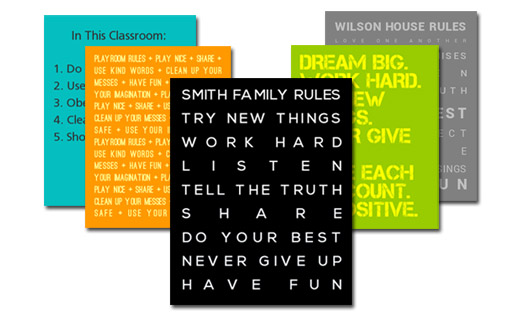 Customized Family Rules Posters & Canvases