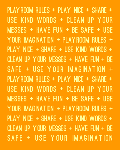 Customized Playroom Rules Poster