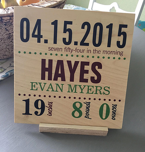 "8"" x 8"" Wood Print Baby's Birth Date Details Plaque"