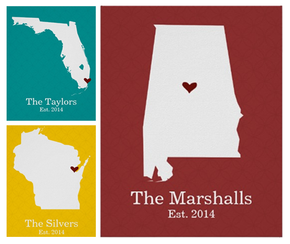 Personalized Home State Silhouette Art Print