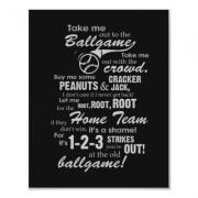 Take Me Out to the Ballgame Lyrics Art - Black