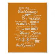 Take Me Out to the Ballgame Poster - Orange