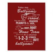 Take Me Out to the Ballgame Poster - Red
