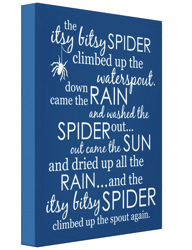 Itsy Bitsy Spider Wrapped Canvas - Blue