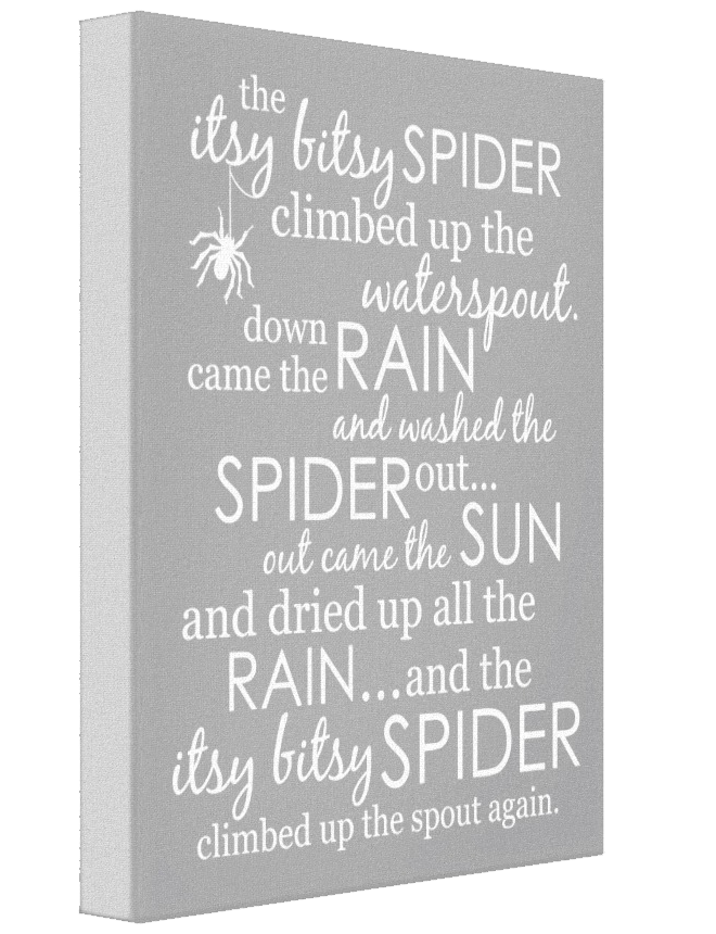 Itsy Bitsy Spider Wrapped Canvas - Gray
