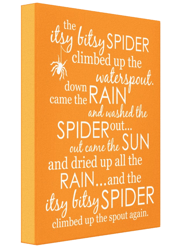 Itsy Bitsy Spider Wrapped Canvas - Orange