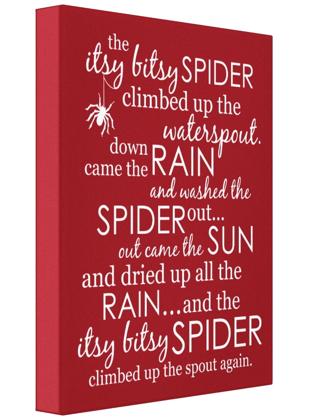 Itsy Bitsy Spider Wrapped Canvas - Red